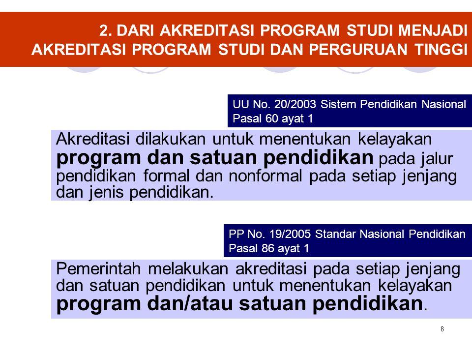 8 2. DARI AKREDITASI PROGRAM STUDI MENJADI AKREDITASI PROGRAM STUDI DAN PERGURUAN TINGGI Akreditasi dilakukan untuk menentukan kelayakan program dan s