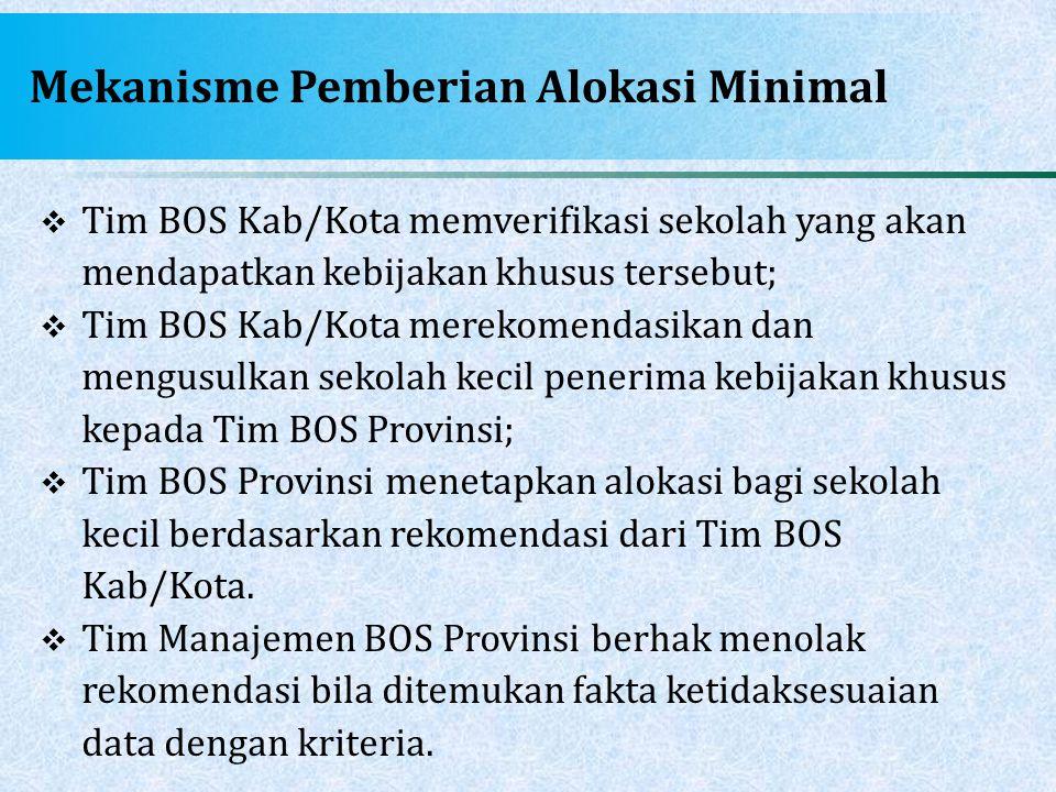 Mekanisme Pemberian Alokasi Minimal  Tim BOS Kab/Kota memverifikasi sekolah yang akan mendapatkan kebijakan khusus tersebut;  Tim BOS Kab/Kota merek