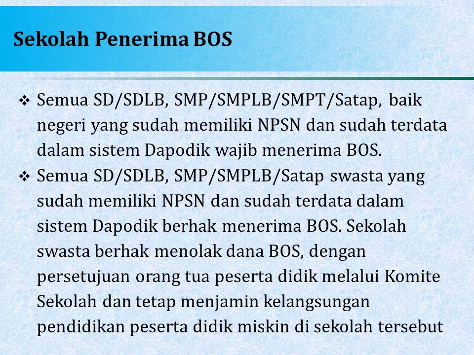 Sekolah Penerima BOS  Semua SD/SDLB, SMP/SMPLB/SMPT/Satap, baik negeri yang sudah memiliki NPSN dan sudah terdata dalam sistem Dapodik wajib menerima