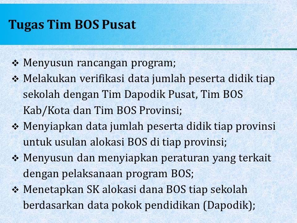 Tugas Tim BOS Pusat  Menyusun rancangan program;  Melakukan verifikasi data jumlah peserta didik tiap sekolah dengan Tim Dapodik Pusat, Tim BOS Kab/