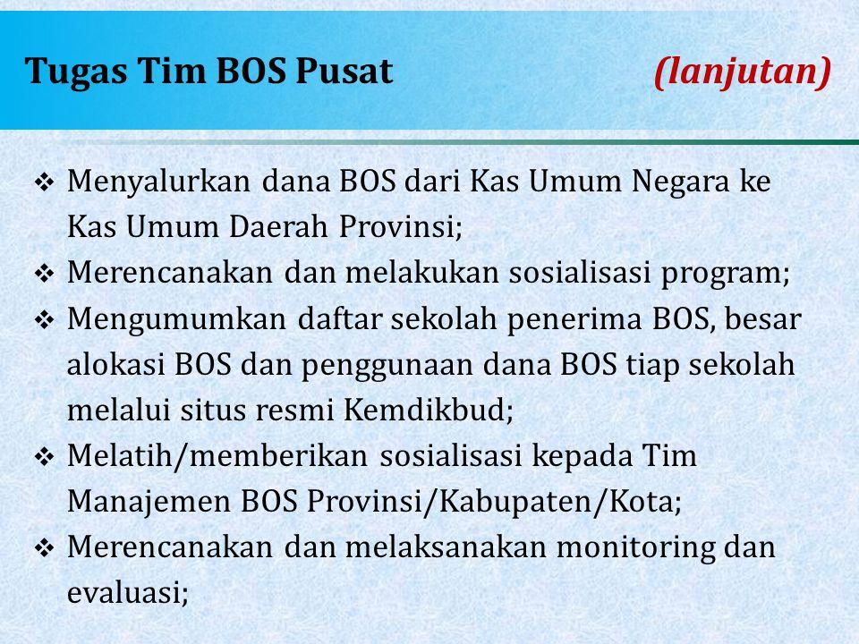 Tugas Tim BOS Pusat(lanjutan)  Menyalurkan dana BOS dari Kas Umum Negara ke Kas Umum Daerah Provinsi;  Merencanakan dan melakukan sosialisasi progra