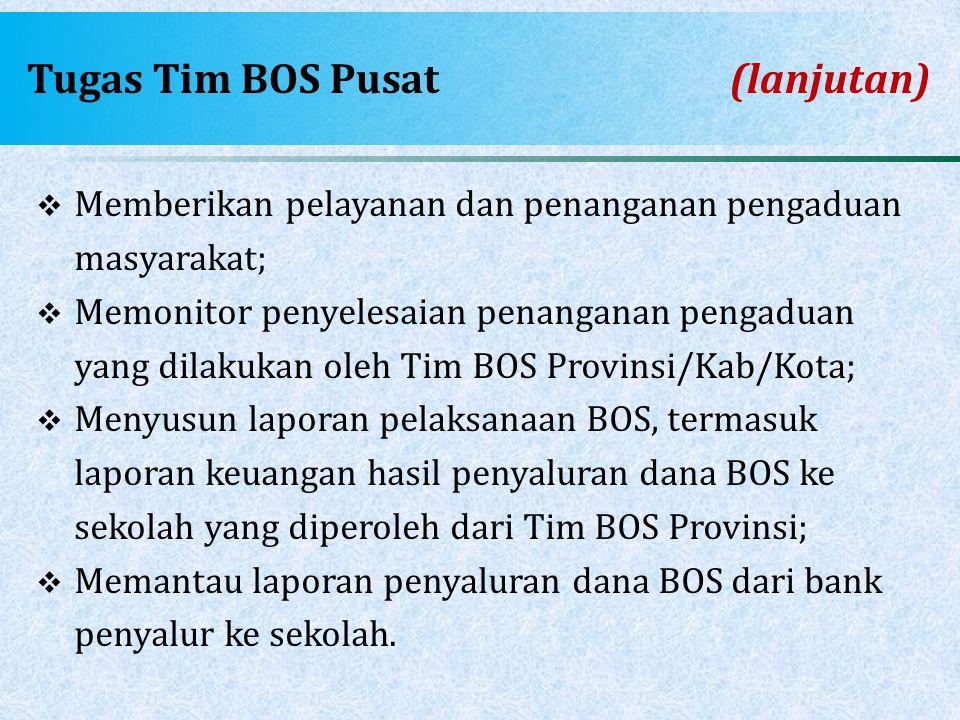 Tugas Tim BOS Pusat(lanjutan)  Memberikan pelayanan dan penanganan pengaduan masyarakat;  Memonitor penyelesaian penanganan pengaduan yang dilakukan