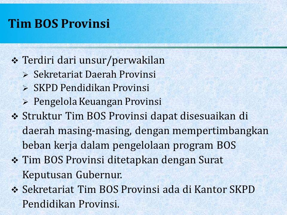 Tim BOS Provinsi  Terdiri dari unsur/perwakilan  Sekretariat Daerah Provinsi  SKPD Pendidikan Provinsi  Pengelola Keuangan Provinsi  Struktur Tim
