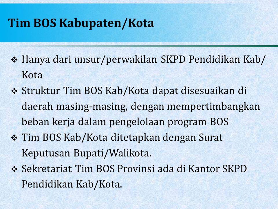 Tim BOS Kabupaten/Kota  Hanya dari unsur/perwakilan SKPD Pendidikan Kab/ Kota  Struktur Tim BOS Kab/Kota dapat disesuaikan di daerah masing-masing,