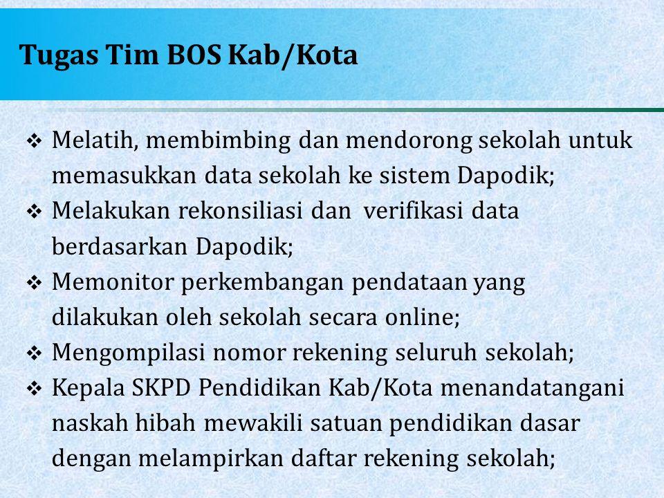 Tugas Tim BOS Kab/Kota  Melatih, membimbing dan mendorong sekolah untuk memasukkan data sekolah ke sistem Dapodik;  Melakukan rekonsiliasi dan verif