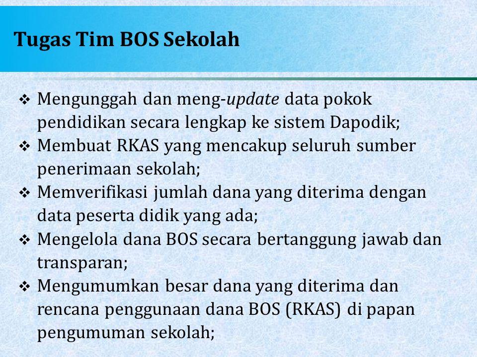 Tugas Tim BOS Sekolah  Mengunggah dan meng-update data pokok pendidikan secara lengkap ke sistem Dapodik;  Membuat RKAS yang mencakup seluruh sumber