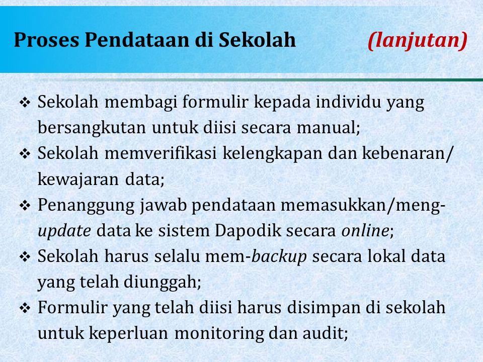Proses Pendataan di Sekolah(lanjutan)  Sekolah membagi formulir kepada individu yang bersangkutan untuk diisi secara manual;  Sekolah memverifikasi