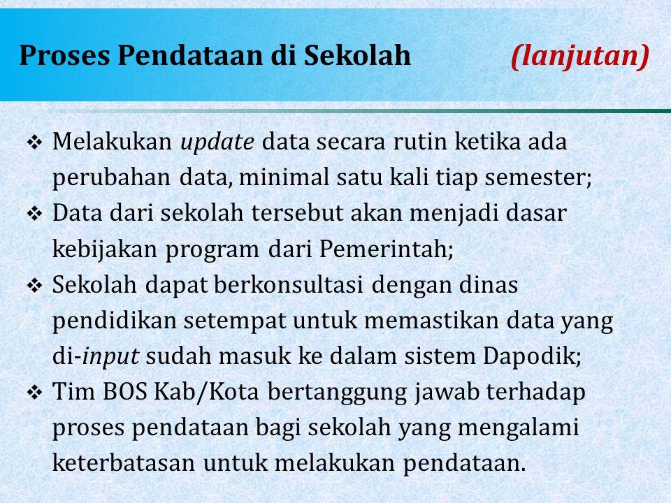 Proses Pendataan di Sekolah(lanjutan)  Melakukan update data secara rutin ketika ada perubahan data, minimal satu kali tiap semester;  Data dari sek
