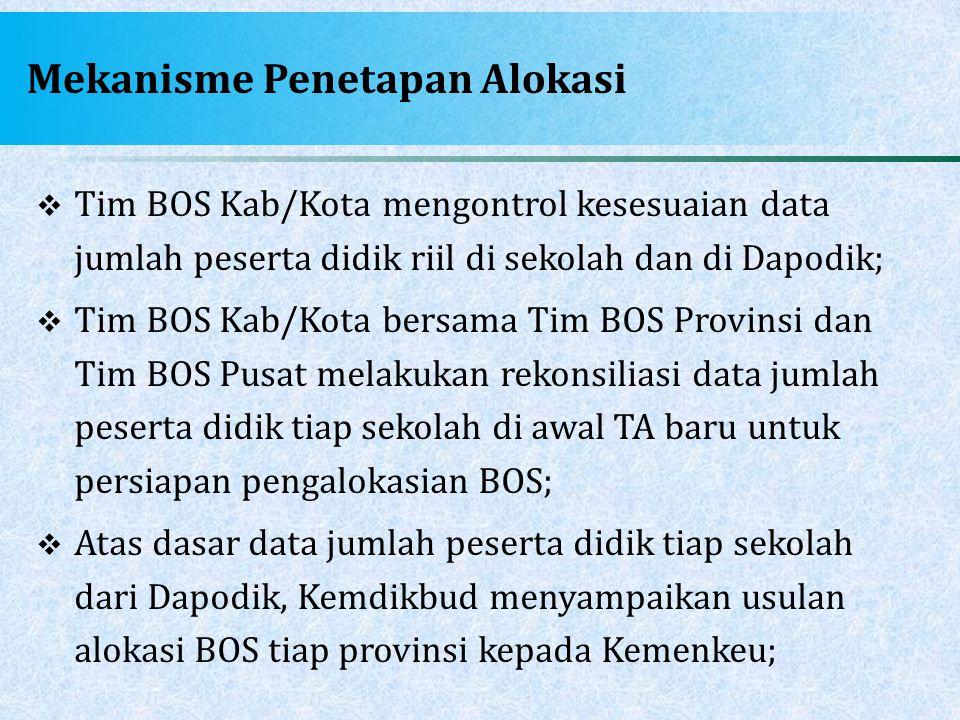 Mekanisme Penetapan Alokasi  Tim BOS Kab/Kota mengontrol kesesuaian data jumlah peserta didik riil di sekolah dan di Dapodik;  Tim BOS Kab/Kota bers