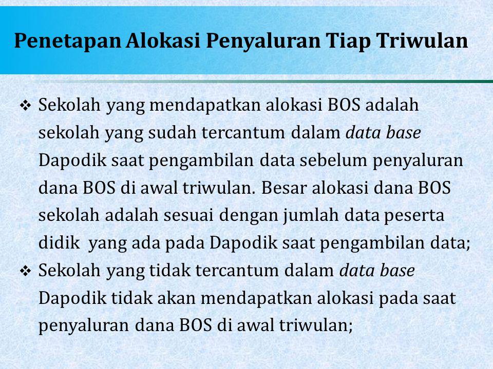 Penetapan Alokasi Penyaluran Tiap Triwulan  Sekolah yang mendapatkan alokasi BOS adalah sekolah yang sudah tercantum dalam data base Dapodik saat pen
