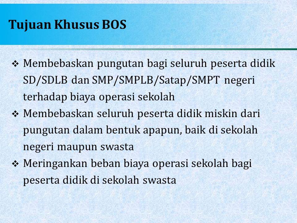 Tujuan Khusus BOS  Membebaskan pungutan bagi seluruh peserta didik SD/SDLB dan SMP/SMPLB/Satap/SMPT negeri terhadap biaya operasi sekolah  Membebask