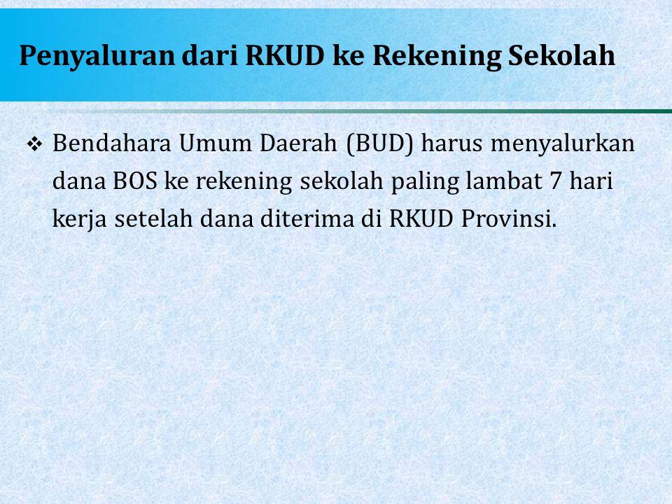 Penyaluran dari RKUD ke Rekening Sekolah  Bendahara Umum Daerah (BUD) harus menyalurkan dana BOS ke rekening sekolah paling lambat 7 hari kerja setel