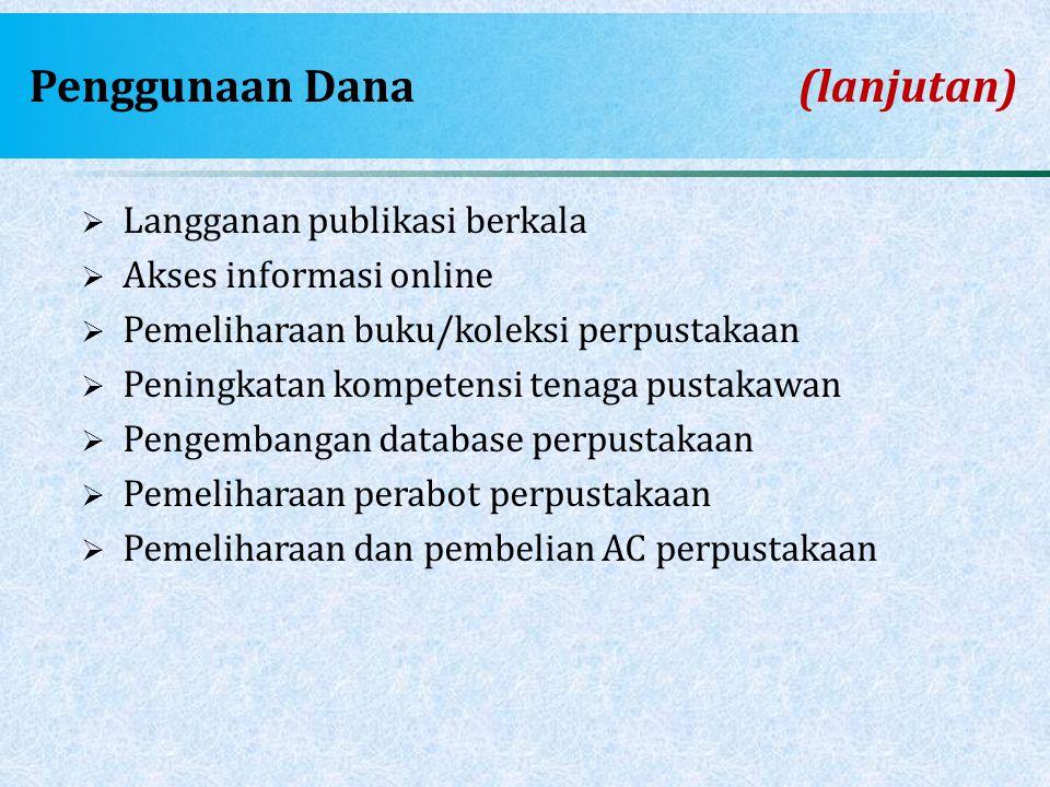Penggunaan Dana (lanjutan)  Langganan publikasi berkala  Akses informasi online  Pemeliharaan buku/koleksi perpustakaan  Peningkatan kompetensi te