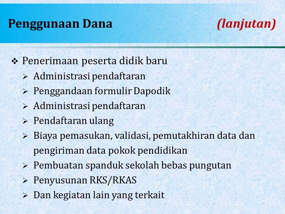 Penggunaan Dana (lanjutan)  Penerimaan peserta didik baru  Administrasi pendaftaran  Penggandaan formulir Dapodik  Administrasi pendaftaran  Pend