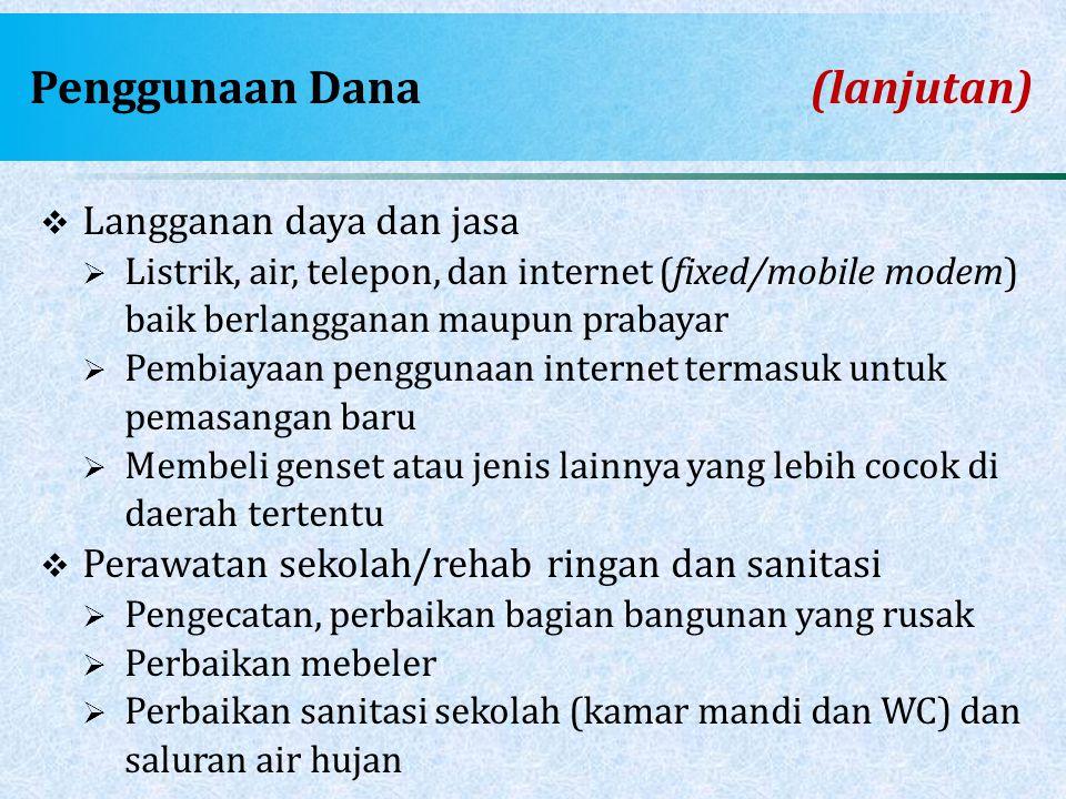 Penggunaan Dana (lanjutan)  Langganan daya dan jasa  Listrik, air, telepon, dan internet (fixed/mobile modem) baik berlangganan maupun prabayar  Pe