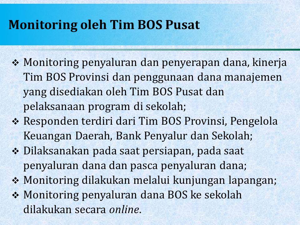 Monitoring oleh Tim BOS Pusat  Monitoring penyaluran dan penyerapan dana, kinerja Tim BOS Provinsi dan penggunaan dana manajemen yang disediakan oleh