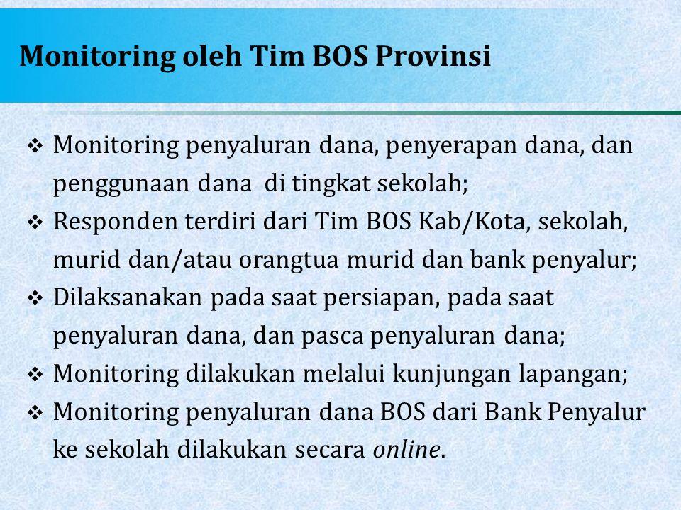 Monitoring oleh Tim BOS Provinsi  Monitoring penyaluran dana, penyerapan dana, dan penggunaan dana di tingkat sekolah;  Responden terdiri dari Tim B