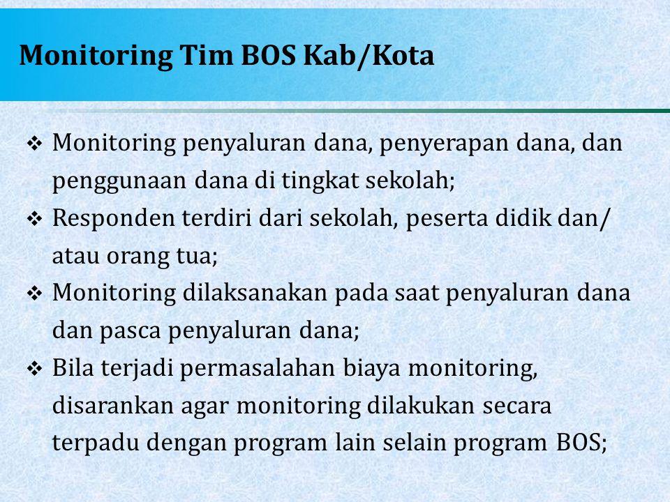 Monitoring Tim BOS Kab/Kota  Monitoring penyaluran dana, penyerapan dana, dan penggunaan dana di tingkat sekolah;  Responden terdiri dari sekolah, p