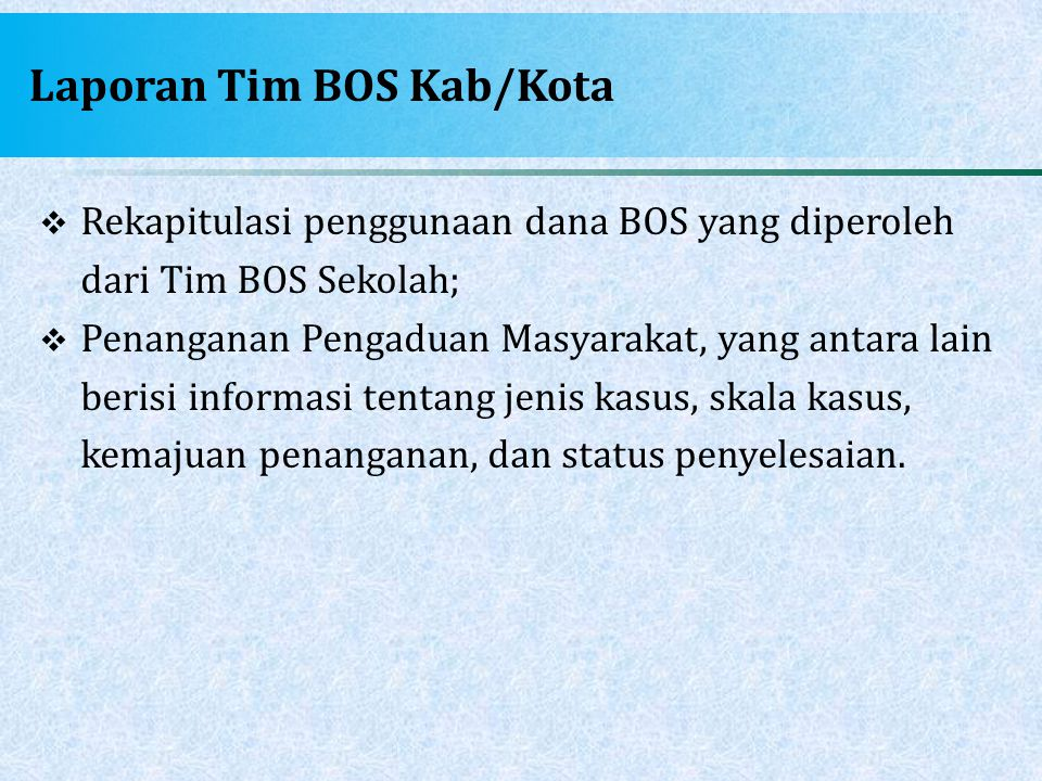 Laporan Tim BOS Kab/Kota  Rekapitulasi penggunaan dana BOS yang diperoleh dari Tim BOS Sekolah;  Penanganan Pengaduan Masyarakat, yang antara lain b