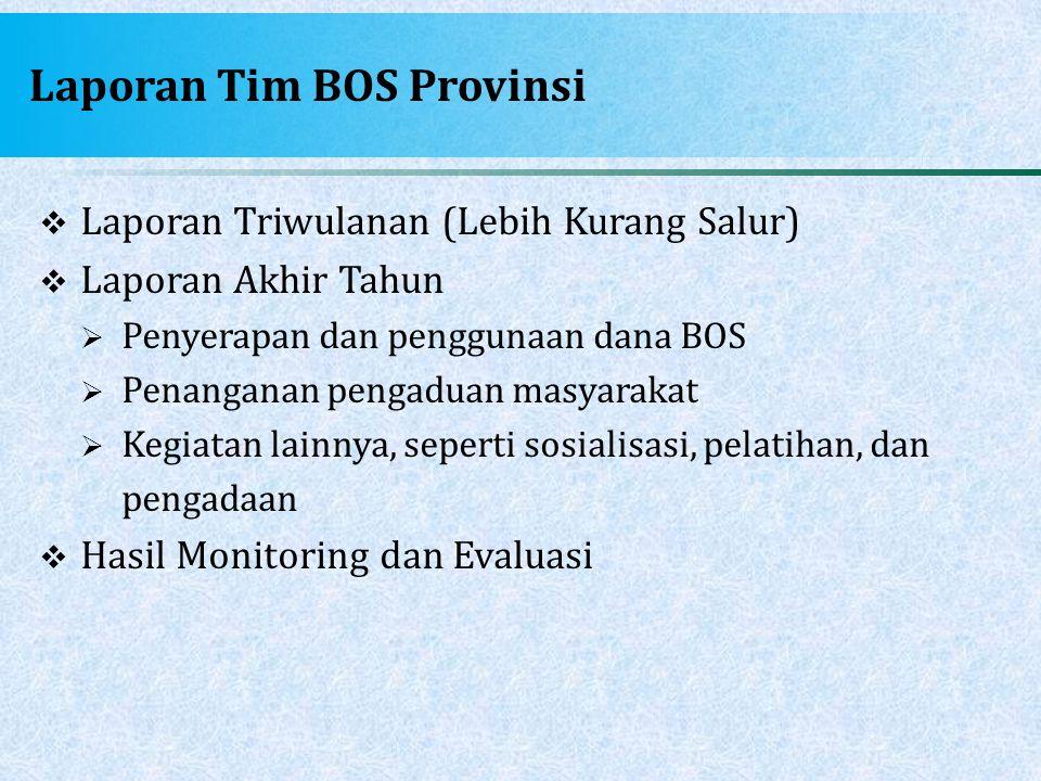 Laporan Tim BOS Provinsi  Laporan Triwulanan (Lebih Kurang Salur)  Laporan Akhir Tahun  Penyerapan dan penggunaan dana BOS  Penanganan pengaduan m