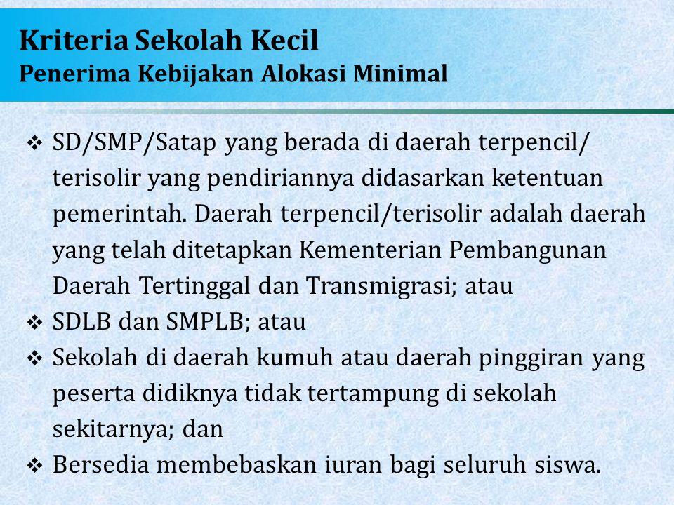 Kriteria Sekolah Kecil Penerima Kebijakan Alokasi Minimal  SD/SMP/Satap yang berada di daerah terpencil/ terisolir yang pendiriannya didasarkan keten