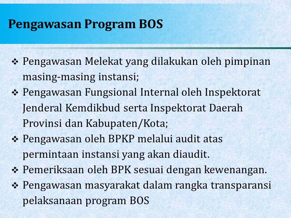Pengawasan Program BOS  Pengawasan Melekat yang dilakukan oleh pimpinan masing-masing instansi;  Pengawasan Fungsional Internal oleh Inspektorat Jen