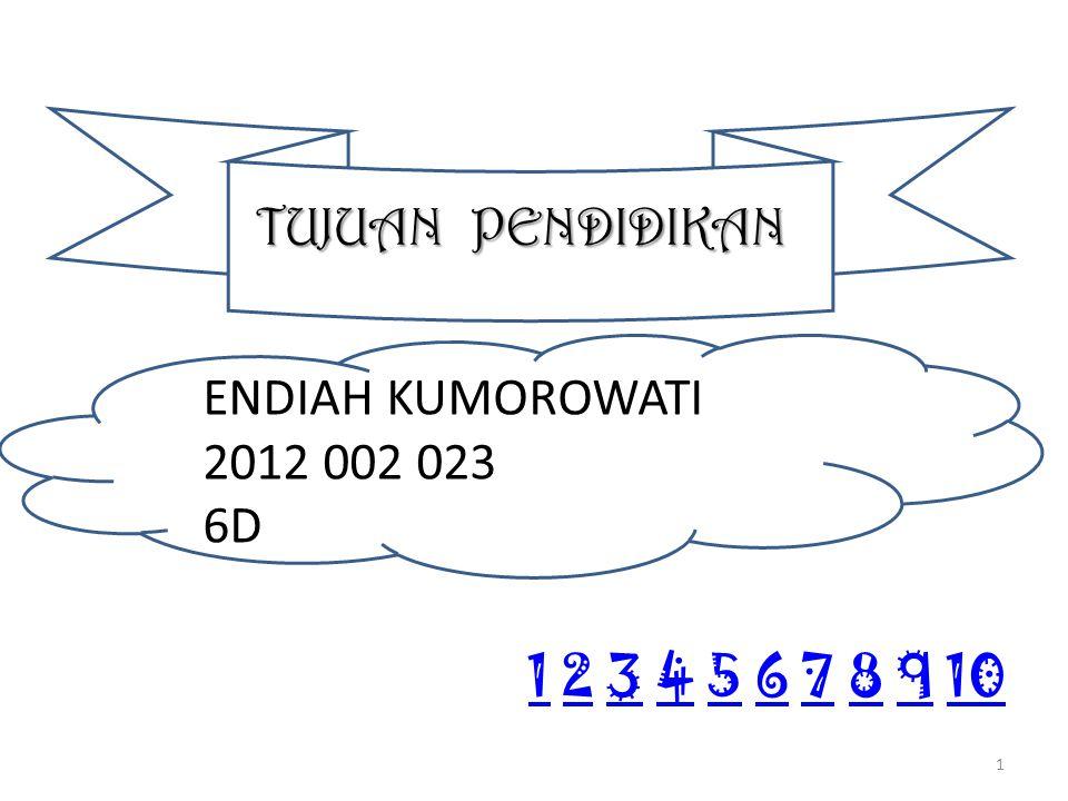 TUJUAN PENDIDIKAN ENDIAH KUMOROWATI 2012 002 023 6D 11 2 3 4 5 6 7 8 9 102345678910 1