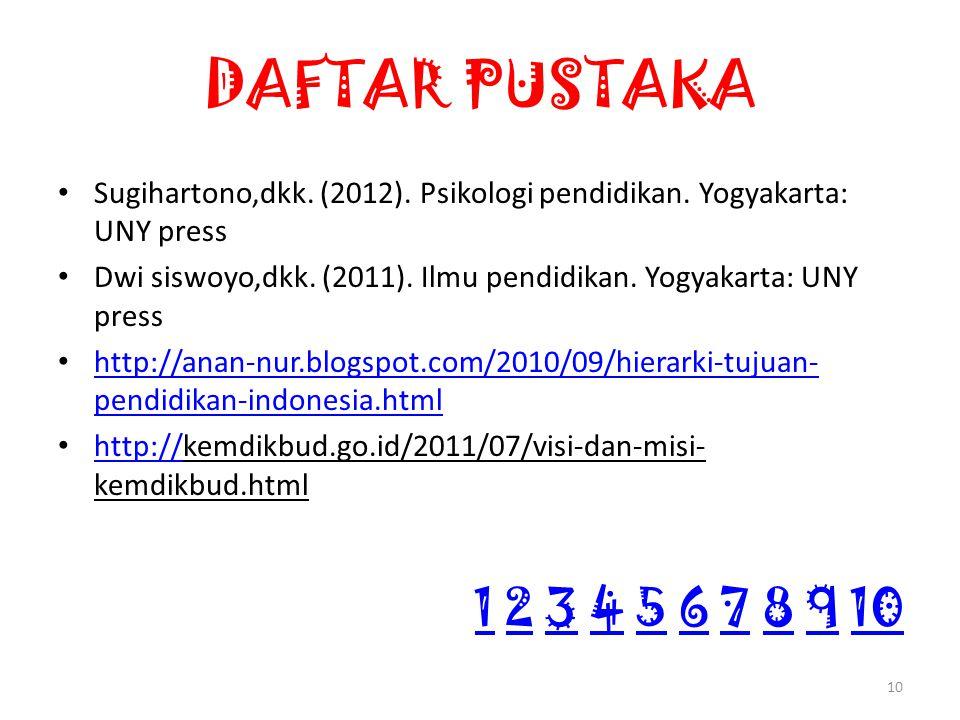 DAFTAR PUSTAKA Sugihartono,dkk. (2012). Psikologi pendidikan.