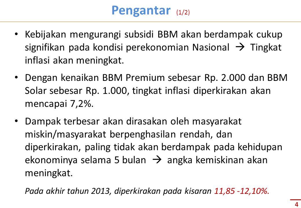 …pengalaman tahun 2005 dan 2008: inflasi terjadi dalam jangka waktu sementara saja setelah kenaikan harga BBM… Pengantar (2/4) Sumber : Bappenas 2013 5 Premium turun dari 6000 menjadi 4500