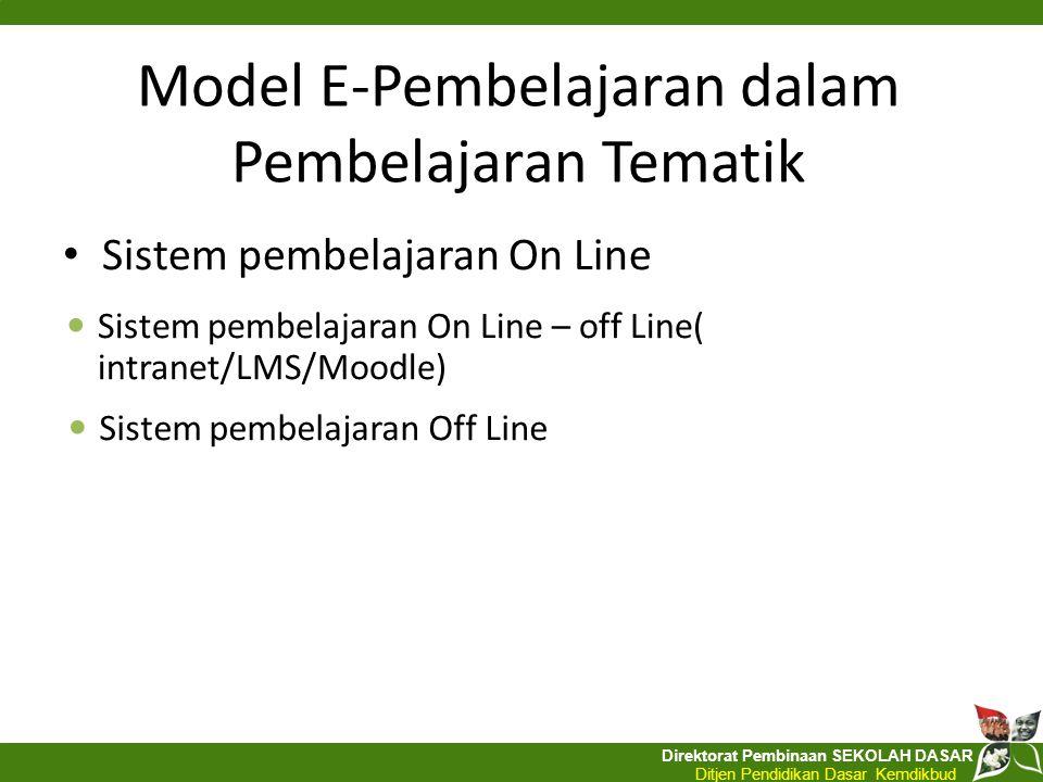 Direktorat Pembinaan SEKOLAH DASAR Ditjen Pendidikan Dasar Kemdikbud Model E-Pembelajaran dalam Pembelajaran Tematik Sistem pembelajaran On Line Siste