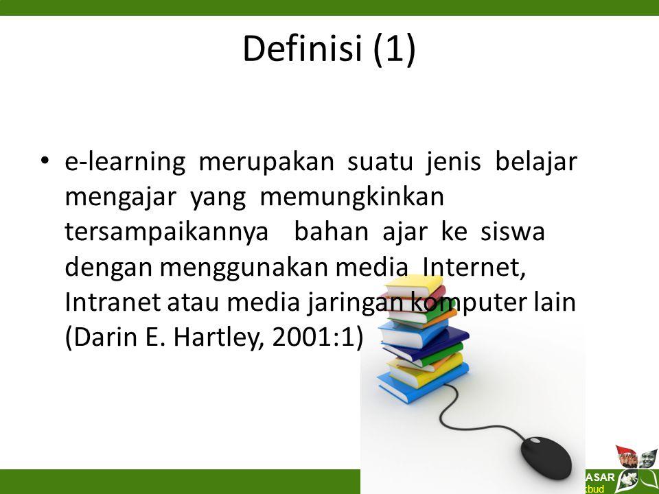 Direktorat Pembinaan SEKOLAH DASAR Ditjen Pendidikan Dasar Kemdikbud Definisi (2) pembelajaran elektronik (e-learning) merupakan kegiatan pembelajaran yang memanfaatkan jaringan (Internet, LAN, WAN) sebagai metode penyampaian, interaksi, dan fasilitasi serta didukung oleh berbagai bentuk layanan belajar lainnya (Brown, 2000; Feasey, 2001).