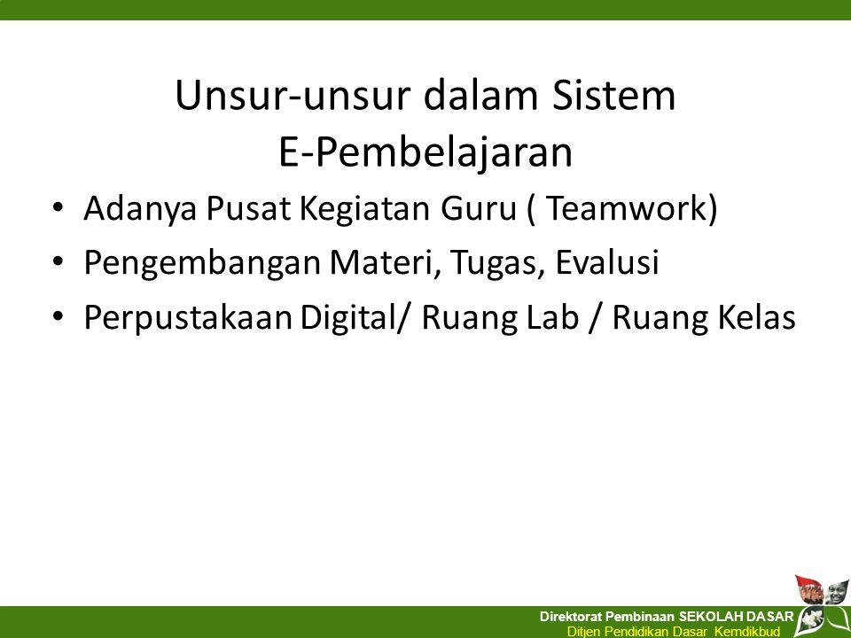 Direktorat Pembinaan SEKOLAH DASAR Ditjen Pendidikan Dasar Kemdikbud Unsur-unsur dalam Sistem E-Pembelajaran Adanya Pusat Kegiatan Guru ( Teamwork) Pe