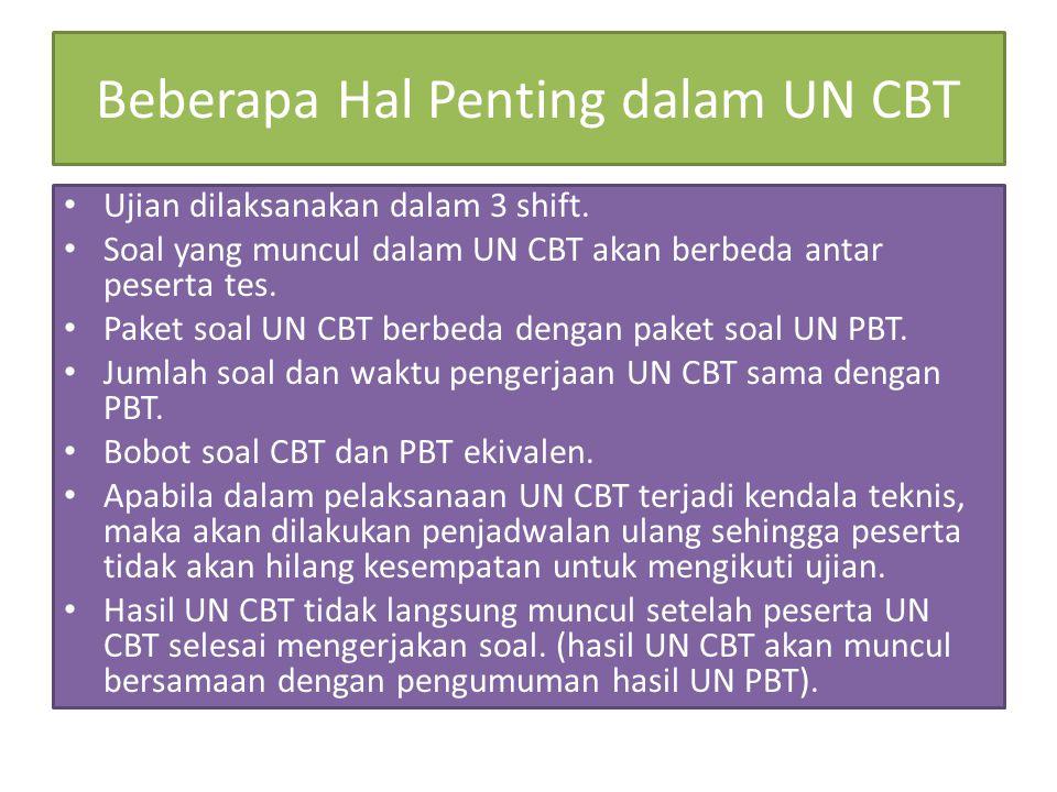 Beberapa Hal Penting dalam UN CBT Ujian dilaksanakan dalam 3 shift. Soal yang muncul dalam UN CBT akan berbeda antar peserta tes. Paket soal UN CBT be