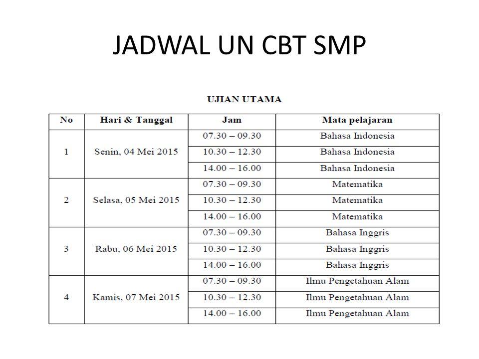 JADWAL UN CBT SMP