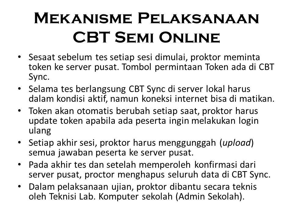 Mekanisme Pelaksanaan CBT Semi Online Sesaat sebelum tes setiap sesi dimulai, proktor meminta token ke server pusat. Tombol permintaan Token ada di CB