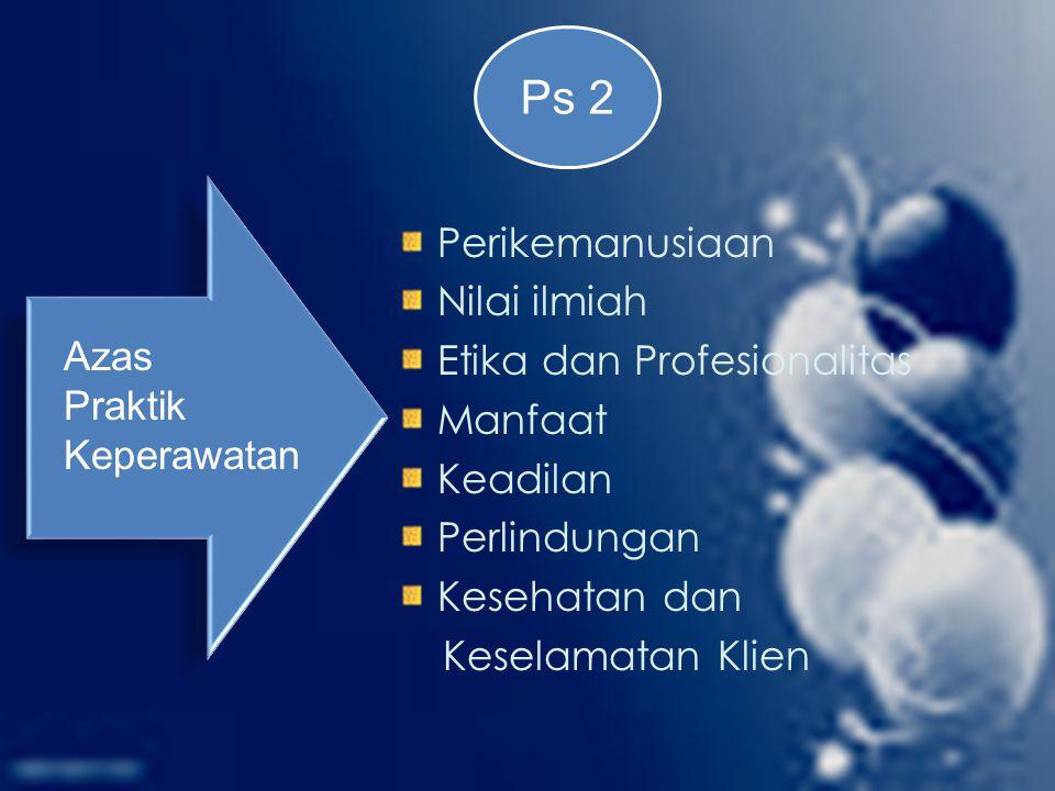 Perikemanusiaan Nilai ilmiah Etika dan Profesionalitas Manfaat Keadilan Perlindungan Kesehatan dan Keselamatan Klien Azas Praktik Keperawatan Ps 2