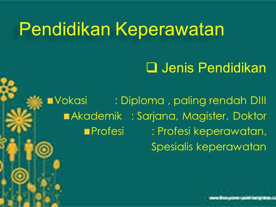 Pendidikan Keperawatan  Jenis Pendidikan Vokasi: Diploma, paling rendah DIII Akademik: Sarjana, Magister, Doktor Profesi: Profesi keperawatan, Spesialis keperawatan