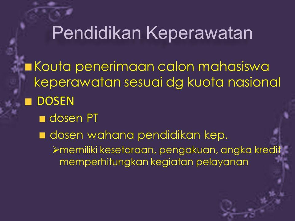 Kouta penerimaan calon mahasiswa keperawatan sesuai dg kuota nasional DOSEN dosen PT dosen wahana pendidikan kep.