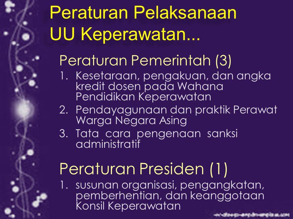 Peraturan Pemerintah (3) 1.Kesetaraan, pengakuan, dan angka kredit dosen pada Wahana Pendidikan Keperawatan 2.Pendayagunaan dan praktik Perawat Warga Negara Asing 3.Tata cara pengenaan sanksi administratif Peraturan Presiden (1) 1.
