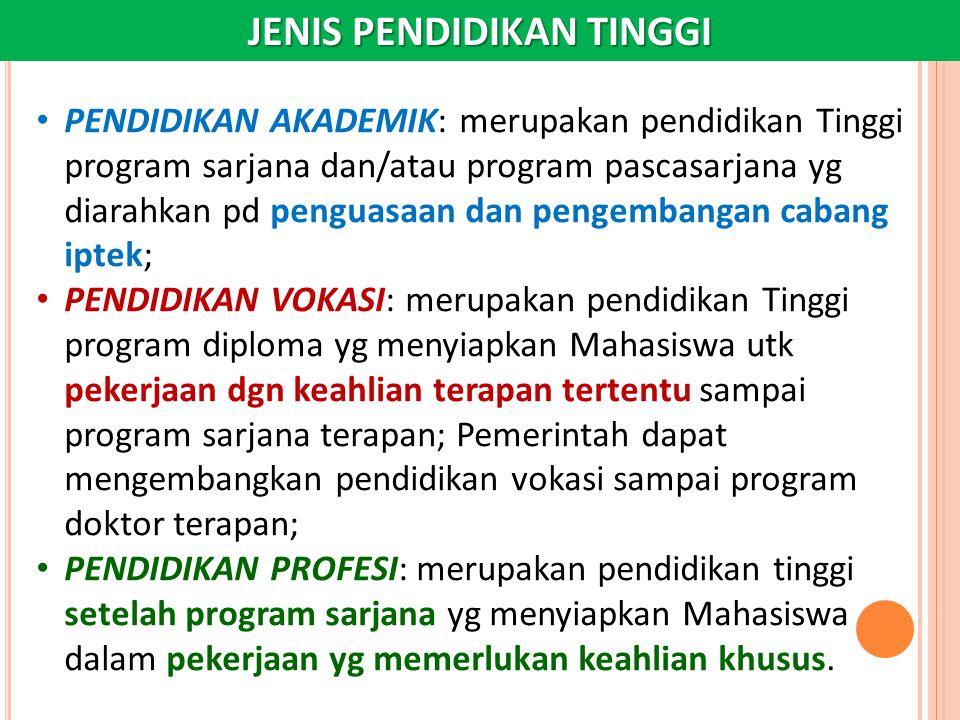 JENIS PENDIDIKAN TINGGI PENDIDIKAN AKADEMIK: merupakan pendidikan Tinggi program sarjana dan/atau program pascasarjana yg diarahkan pd penguasaan dan