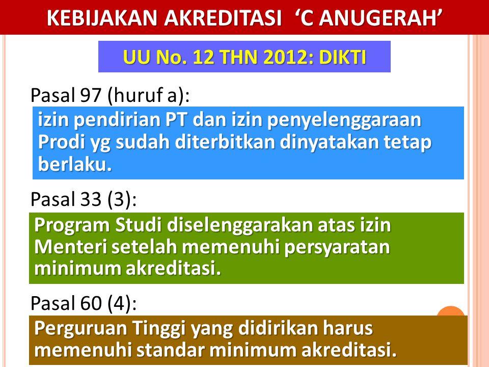 30 Perguruan Tinggi yang didirikan harus memenuhi standar minimum akreditasi. UU No. 12 THN 2012: DIKTI Pasal 60 (4): Program Studi diselenggarakan at