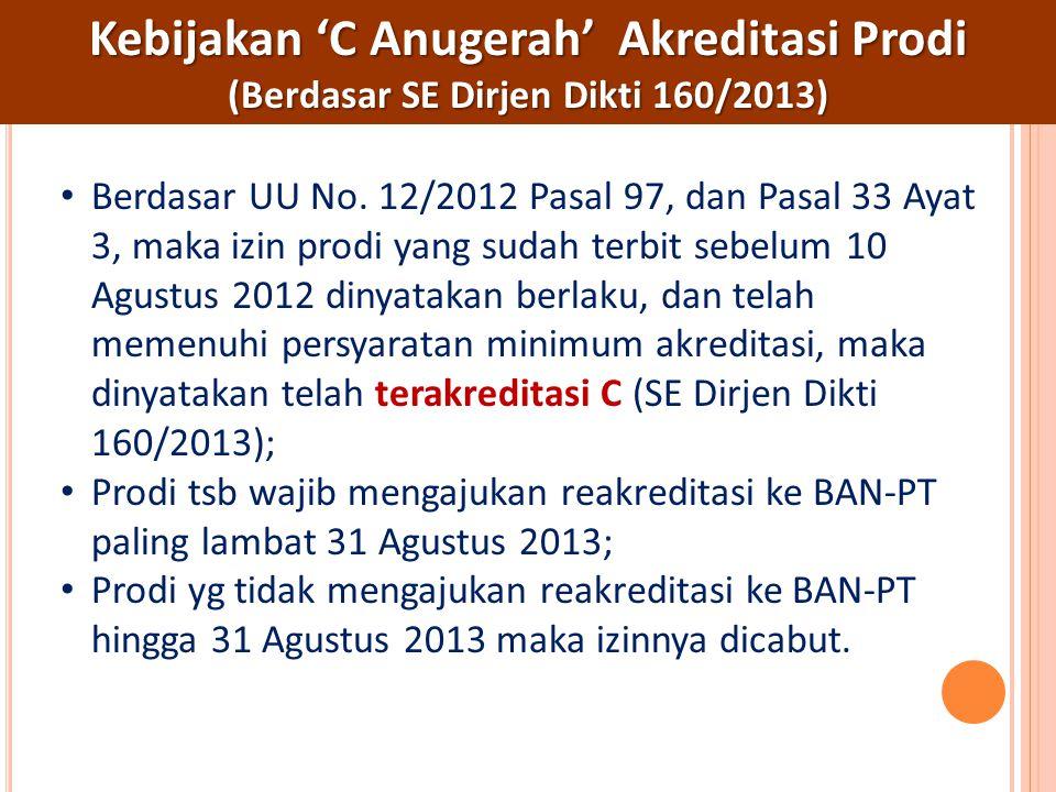 Kebijakan 'C Anugerah' Akreditasi Prodi (Berdasar SE Dirjen Dikti 160/2013) Berdasar UU No. 12/2012 Pasal 97, dan Pasal 33 Ayat 3, maka izin prodi yan