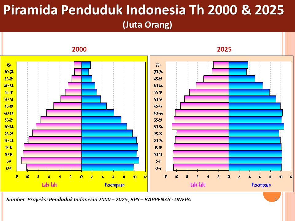 5 555 Piramida Penduduk Indonesia Th 2000 & 2025 (Juta Orang) 20002025 Sumber: Proyeksi Penduduk Indonesia 2000 – 2025, BPS – BAPPENAS - UNFPA