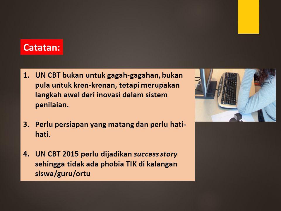 1.UN CBT bukan untuk gagah-gagahan, bukan pula untuk kren-krenan, tetapi merupakan langkah awal dari inovasi dalam sistem penilaian. 3.Perlu persiapan