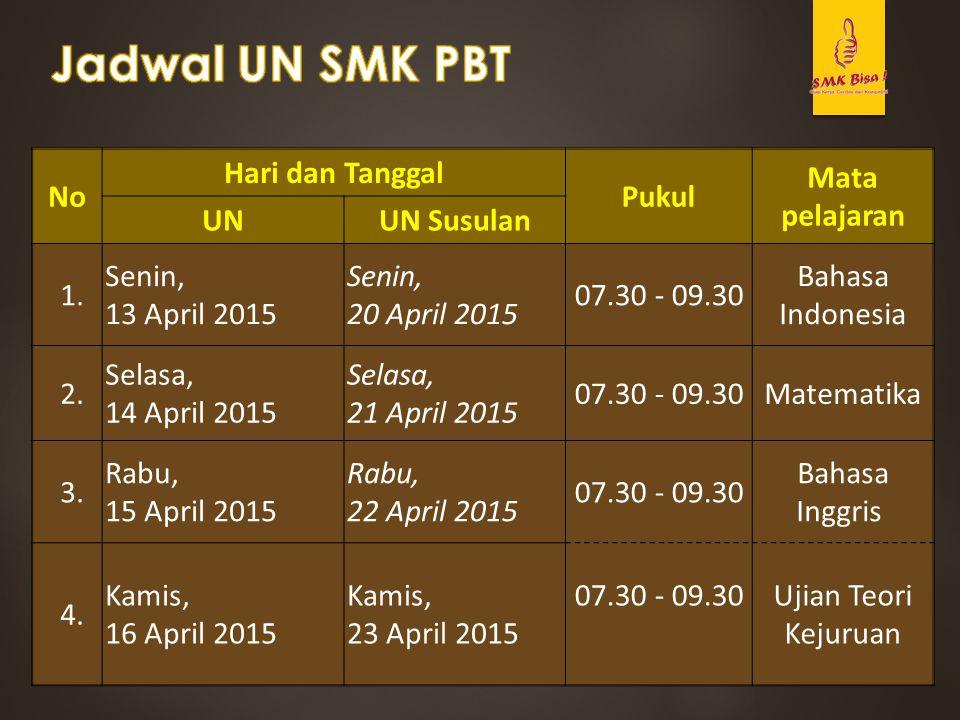 No Hari dan Tanggal Pukul Mata pelajaran UNUN Susulan 1. Senin, 13 April 2015 Senin, 20 April 2015 07.30 - 09.30 Bahasa Indonesia 2. Selasa, 14 April