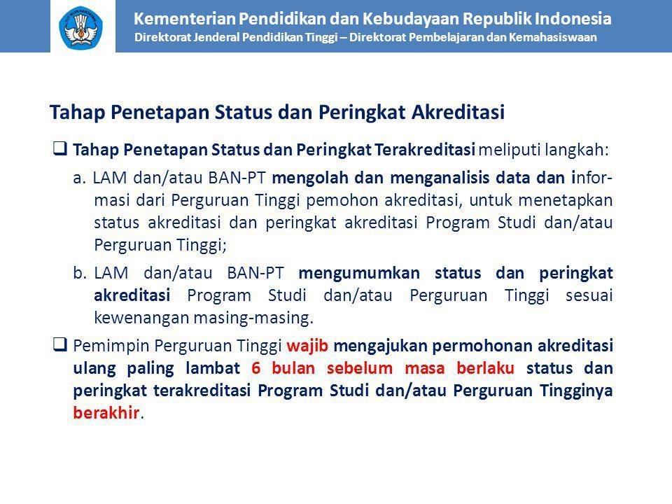 Tahap Penetapan Status dan Peringkat Terakreditasi meliputi langkah: a. LAM dan/atau BAN-PT mengolah dan menganalisis data dan infor- masi dari Perg