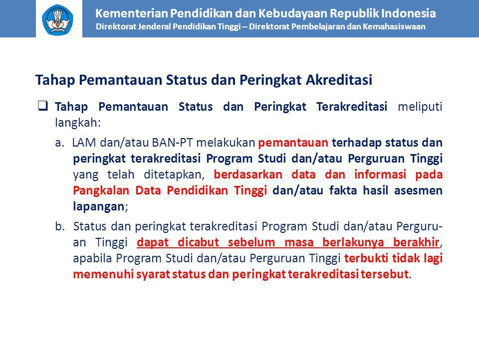  Tahap Pemantauan Status dan Peringkat Terakreditasi meliputi langkah: a. LAM dan/atau BAN-PT melakukan pemantauan terhadap status dan peringkat tera