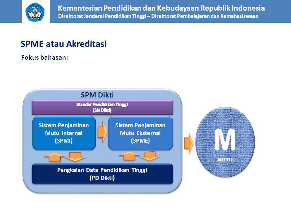 SPME atau Akreditasi Fokus bahasan: Kementerian Pendidikan dan Kebudayaan Republik Indonesia Direktorat Jenderal Pendidikan Tinggi – Direktorat Pembelajaran dan Kemahasiswaan Sistem Penjaminan Mutu Internal (SPMI) Sistem Penjaminan Mutu Internal (SPMI) Pangkalan Data Pendidikan Tinggi (PD Dikti) Pangkalan Data Pendidikan Tinggi (PD Dikti) Sistem Penjaminan Mutu Eksternal (SPME) Sistem Penjaminan Mutu Eksternal (SPME) SPM Dikti M MUTU M MUTU