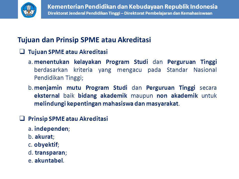  Tujuan SPME atau Akreditasi a.menentukan kelayakan Program Studi dan Perguruan Tinggi berdasarkan kriteria yang mengacu pada Standar Nasional Pendidikan Tinggi; b.menjamin mutu Program Studi dan Perguruan Tinggi secara eksternal baik bidang akademik maupun non akademik untuk melindungi kepentingan mahasiswa dan masyarakat.