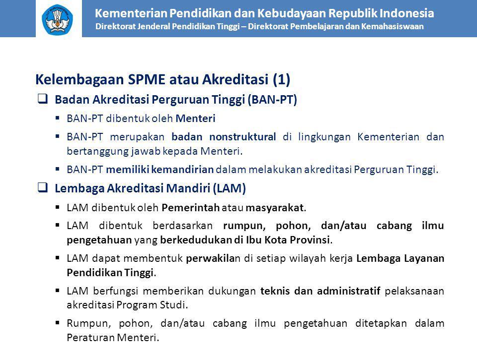 Kelembagaan SPME atau Akreditasi (1) Kementerian Pendidikan dan Kebudayaan Republik Indonesia Direktorat Jenderal Pendidikan Tinggi – Direktorat Pembelajaran dan Kemahasiswaan  Badan Akreditasi Perguruan Tinggi (BAN-PT)  BAN-PT dibentuk oleh Menteri  BAN-PT merupakan badan nonstruktural di lingkungan Kementerian dan bertanggung jawab kepada Menteri.